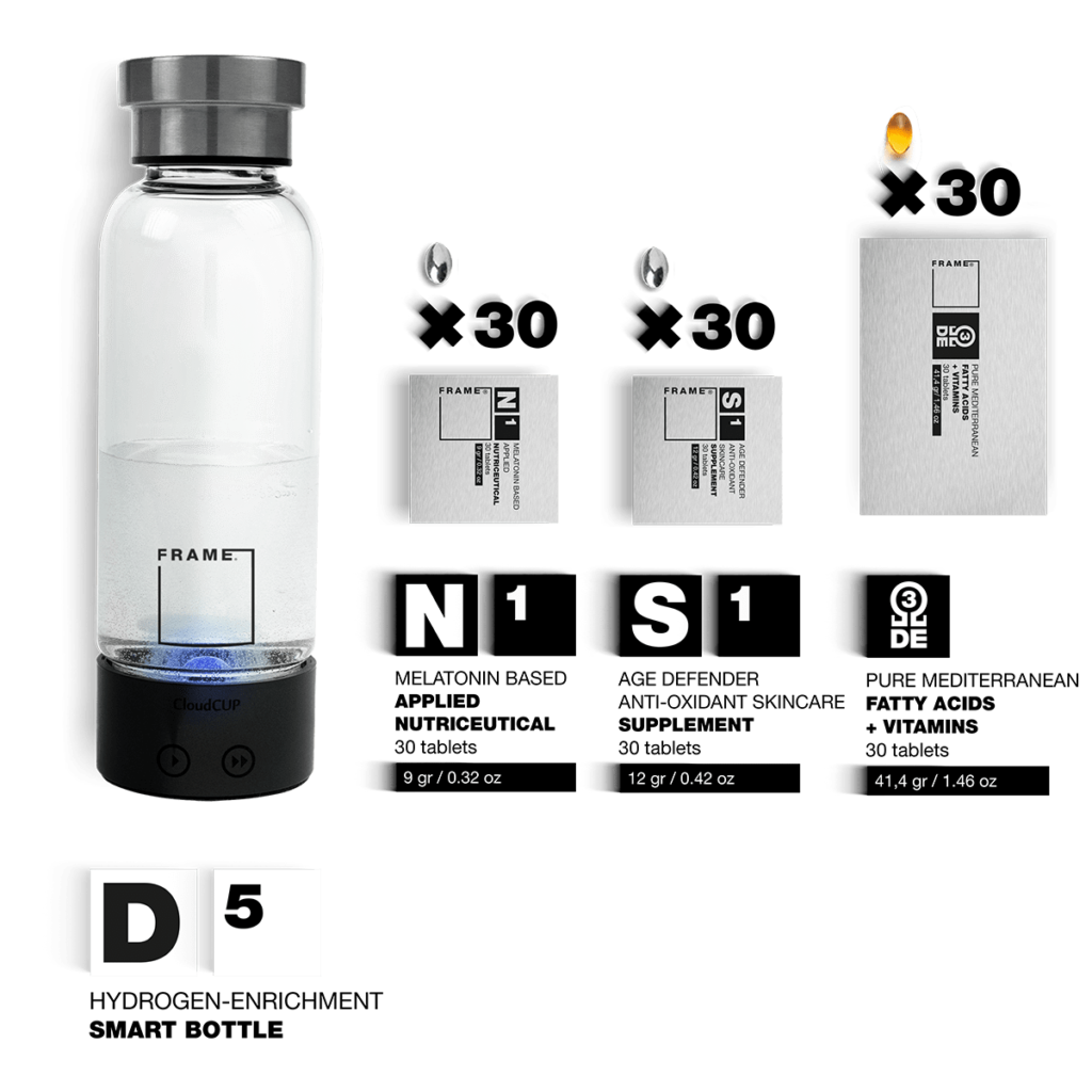 D5 + N1, S1, Ω – Hydrogen-enrichment Smart Bottle + Applied Nutriceuticals Vitamins & Skincare Supplements