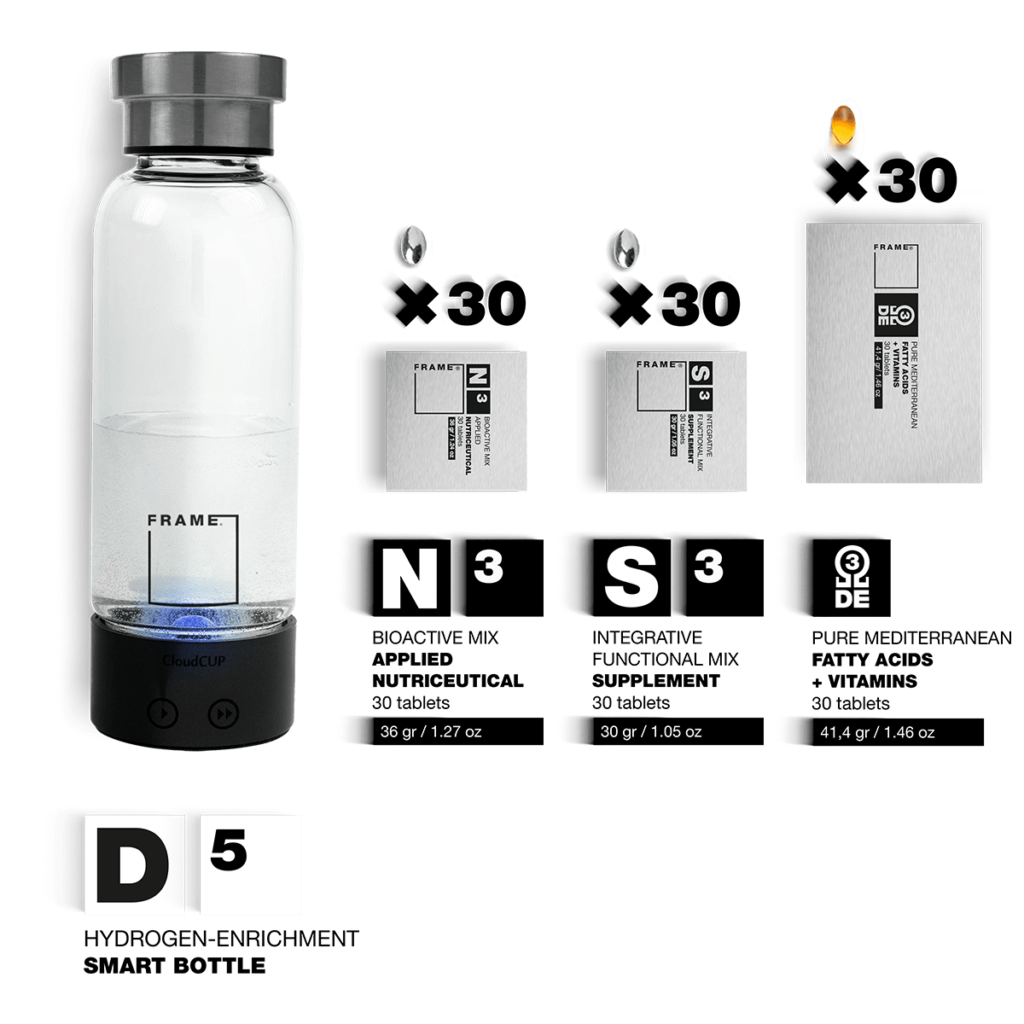 D5 + N3, S3, Ω – Hydrogen-enrichment Smart Bottle + Applied Nutriceuticals Vitamins & Skincare Supplements