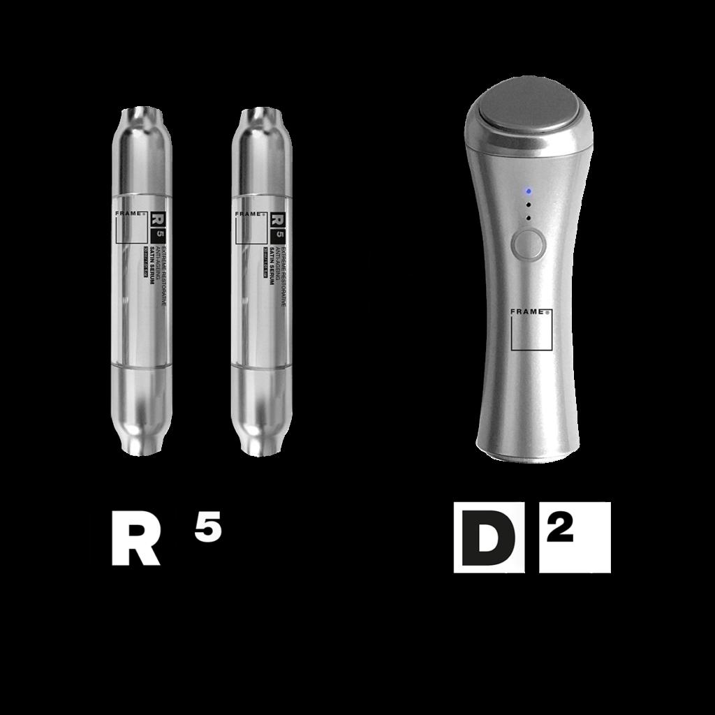 R5 – Extreme Restorative Anti-ageing Satin Serum + D2 – Thermal-vibration Face Massaging Device