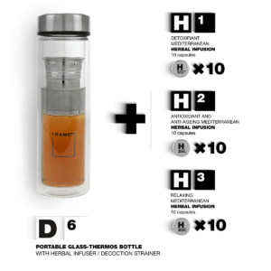 D6 + H1/H2/H3 – Portable Glass-thermos Bottle With Herbal Infuser / Decoction Strainer + Encapsulated Infusions